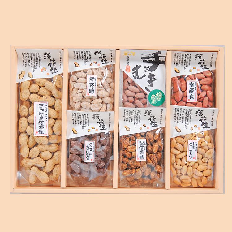 塩南京(小)/バターピーナッツ(小)/手むき塩吹南京(小) 黒落花糖(小)/落花糖(小)/落花生甘納豆(小)/さや付落花生